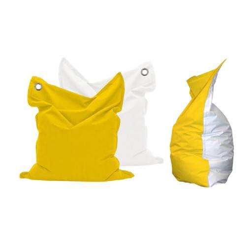 Sitzsack gelb/weiss 135x165 cm.