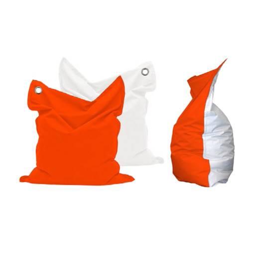 Sitzsack orange/weiss 135x165 cm.