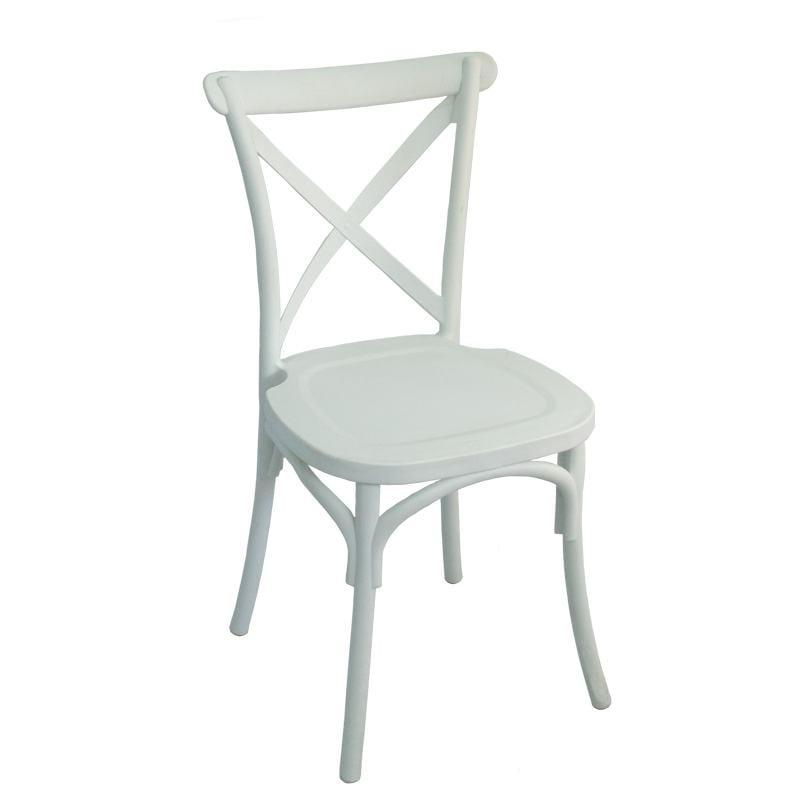 Weißer Croosback Stuhl 74x80 cm.