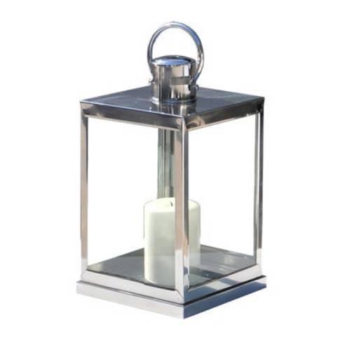 Windlicht Laterne Silber 25x25 cm.